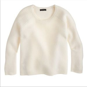 J. Crew Boiled Merino Wool White Zip Crew Sweater